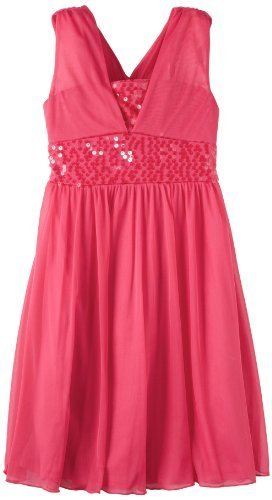 Bonnie Jean Big Girls' Fuchsia Sequin Trim Dress, Pink, 7 [Apparel]