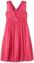 Bonnie Jean Big Girls' Fuchsia Sequin Trim Dress, Pink, 7 [Apparel]