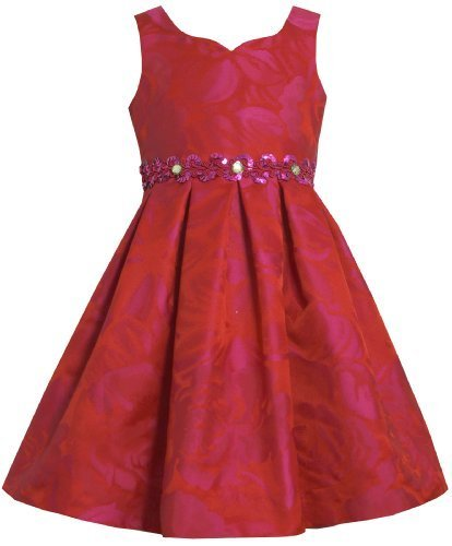 Red Tonal Rose Jacquard Embellished Waistline Dress RD3SA Bonnie Jean Little ...
