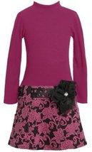 Pull Thru Cut-Out Ribbon Floral Ponte Knit Dress FU8ST,Bonnie Jean Girl Plus-...