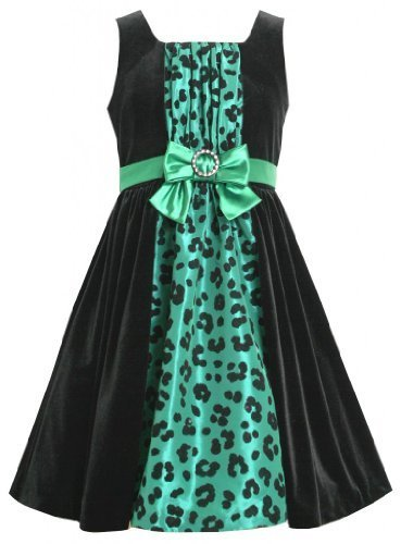 Green Black Velvet and Animal Print Taffeta Inset Dress GR4BY Bonnie Jean Twe...