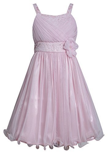 Pink Cross Over Foil Lace to Tulle Overlay Wire Hem Dress PK4MB, Pink, Bonnie...