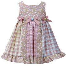 Brown Pink Triple Bow Colorblock Mix Print Seersucker Dress BR1MT, Brown, Bon...