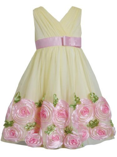 Yellow Pink Cross Over Bonaz Rosette Border Mesh Dress YL3BU, Yellow, Bonnie ...