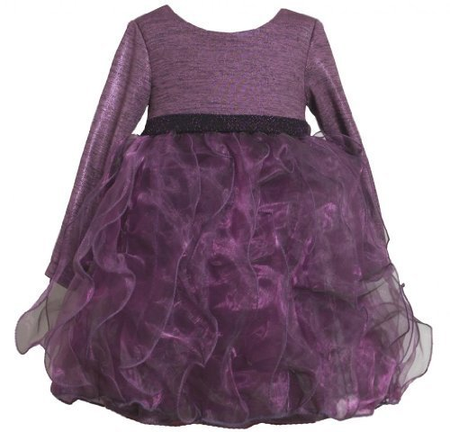 Purple Sparkle Metallic Knit to Cascade Ruffle Dress PU2HABonnie Jean Todders...