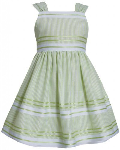 Green White Metallic Pencil Stripe Linen Dress LI2HA, Lime, Bonnie Jean Littl...