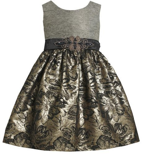 Gold Silver Beaded Waist Metallic Floral Brocade Dress GD2BU Bonnie Jean Todd...
