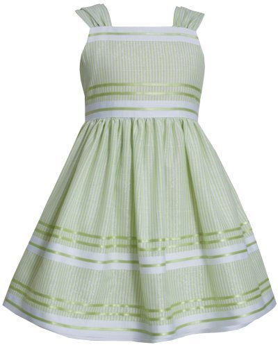 Green White Metallic Pencil Stripe Linen Dress LI2BA, Lime, Bonnie Jean Littl...