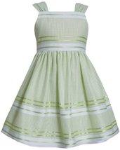 Green White Metallic Pencil Stripe Linen Dress LI2BA, Lime, Bonnie Jean Littl...