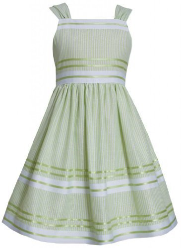 Green White Metallic Pencil Stripe Linen Dress LI3BU, Lime, Bonnie Jean Littl...