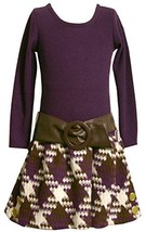 Bonnie Jean Little Girls 2T-6X Knit Top To Boucle Skirt (4, Purple) [Apparel]