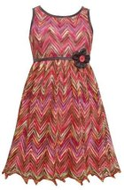 Little Girls 4-6X Coral Multicolor Chevron Flamestitch Pleather Trim Dress (4...
