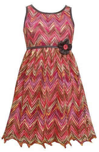 Little Girls 4-6X Coral Multicolor Chevron Flamestitch Pleather Trim Dress (5...