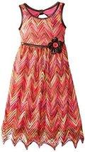 Bonnie Jean Little Girls 4-6X Flamestictch Dress with Belt (5, Coral) [Apparel]