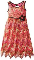 Bonnie Jean Little Girls 4-6X Flamestictch Dress with Belt (6, Coral) [Apparel]