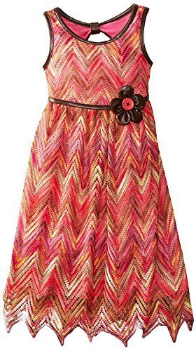 Bonnie Jean Little Girls 4-6X Flamestictch Dress with Belt (6X, Coral) [Apparel]