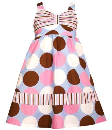 Blue Pink Brown White Multi Big Dot Print Babydoll Dress PR3BU, Print, Bonnie...