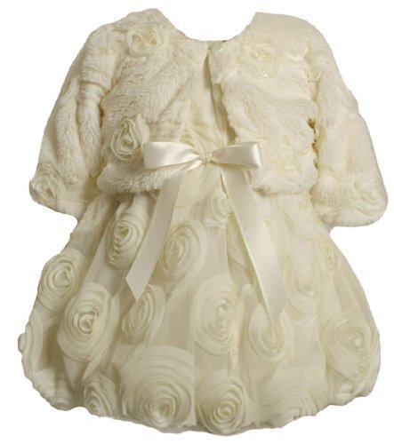 Bonnie Baby Girls' Dress With Rosettes and A Fur Jacket, Ivory, 24 Months Bon...