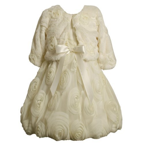 Faux Fur Bonaz Rosette Bubble Dress/Jacket Set IV3SA, Bonnie Jean Girls 2T-6X...