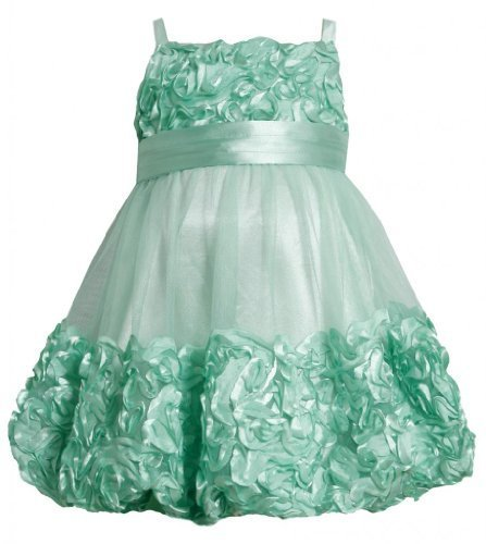 Mint-Green Metallic Bonaz Border Mesh Bubble Dress MI2BU, Mint, Bonnie Jean L...