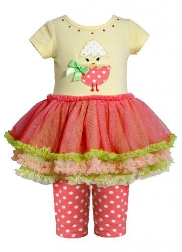 Bonnie Baby Baby-Girls Newborn Chick Applique Tutu with Capri YL1MT, Yellow