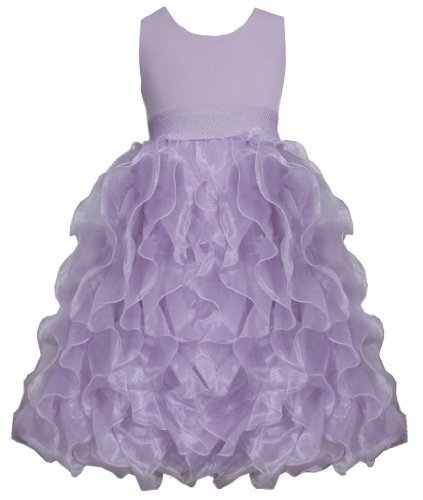 Lilac Metallic Knit to Vertical Organza Ruffles Dress LL4MU, Lilac, Bonnie Je...