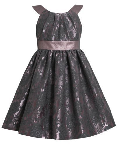 Mauve Floral Brocade and Iridescent Metallic Lame Dress MV3BU Bonnie Jean Lit...