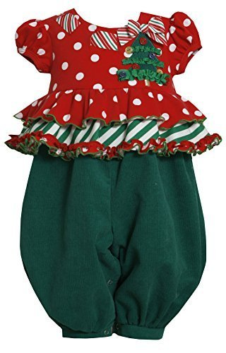 Bonnie Jean Baby 3M-24M Green Red Dots and Ruffles Tree Applique Romper/Jumps...