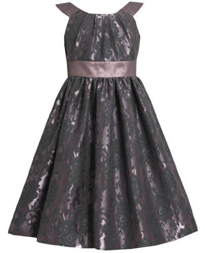 Bonnie Jean Little Girls 2T-6X Floral Brocade Iridescent Metallic Lame Dress ...