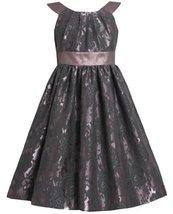 Bonnie Jean Little Girls 2T-6X Floral Brocade Iridescent Metallic Lame Dress ...