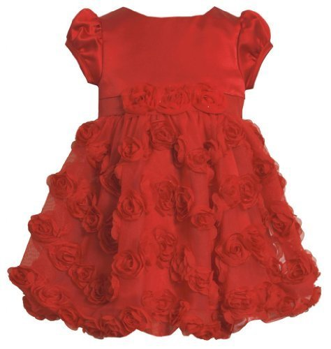 Red Satin and Bonaz Rosette Mesh Overlay Bubble Dress RD2BU Bonnie Jean Todde...