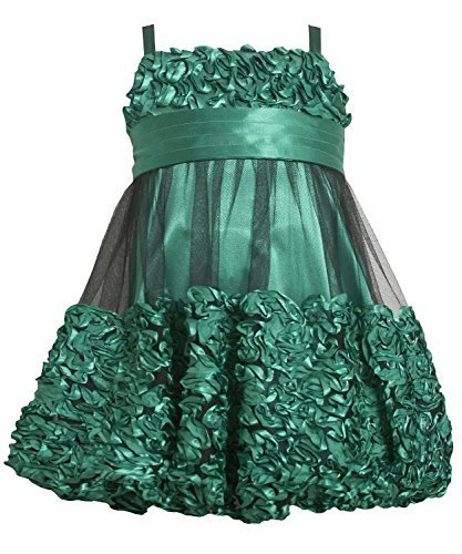 Bonnie Jean Little Girls 2T-6X Green Metallic Bonaz Border Mesh Bubble Dress ...