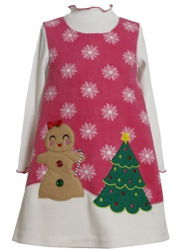 Bonnie Jean Girls Christmas Holiday Jumper Dress Set, Fuschia, 3-6 Months