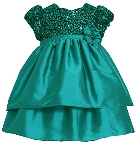 Teal Sequin Velvet Bodice to Double Tier Taffeta Dress TL2BABonnie Jean Todde...