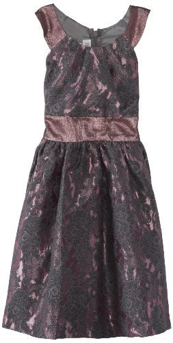 Bonnie Jean Big Girls' Allover Sparkle Dress with Circle Collar, Mauve, 8