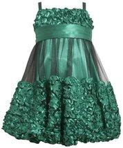 Green Metallic Bonaz Border Mesh Overlay Bubble Dress GR3BU Bonnie Jean Littl...