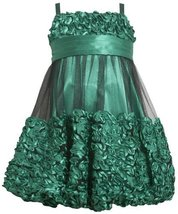 Green Metallic Bonaz Border Mesh Overlay Bubble Dress GR3SA Bonnie Jean Littl...