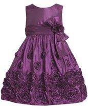 Magenta-Purple Bonaz Rosette Border Taffeta Dress MG2HA, Bonnie Jean Little G...