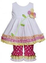 White Button Flower Stem Seersucker Dress/Legging Set WH0BA, White, Bonnie Je...