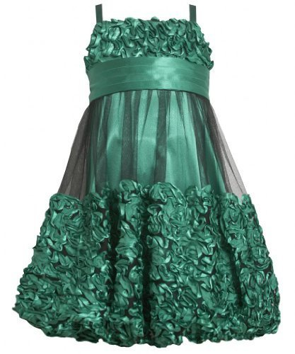 Green Metallic Bonaz Border Mesh Overlay Bubble Dress GR4MB Bonnie Jean Tween...
