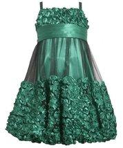 Green Metallic Bonaz Border Mesh Overlay Bubble Dress GR4MB Bonnie Jean Tween...