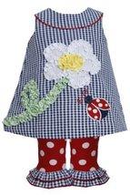 Ladybug Bonaz Flower Stem Seersucker Dress/Legging Set NV1HB, Navy, Bonnie Je...
