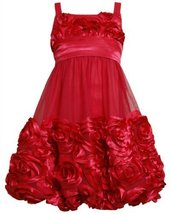 Red Bonaz Rosette Mesh Bubble Dress RD4MHBonnie Jean Tween Girls Special Occa...