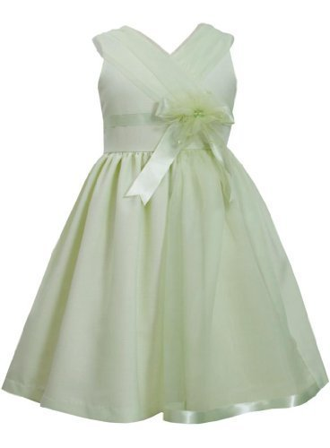 Green Cross Over Organza Panel Linen Dress GR3SA, Green, Bonnie Jean Little G...