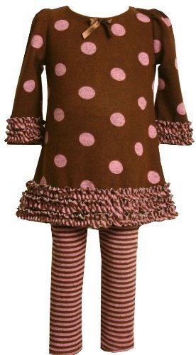 Bonnie Baby Dot And Stripe Print Legging Set, Brown, 12 Months [Apparel]