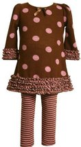 Bonnie Baby Dot And Stripe Print Legging Set, Brown, 24 Months [Apparel]