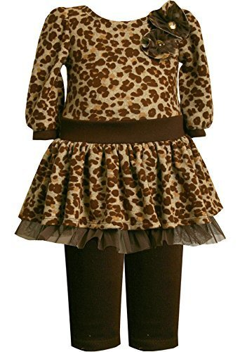 Bonnie Baby-Girls Infant Leopard Print Fuzzy Knit Drop Waist Dress/Legging Se...