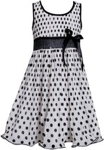 Black White Sequin Waist Crystal Pleat Dotted Chiffon Dress BW3SP, Black/Whit...
