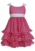 Fuchsia-Pink White Sequin Waist Dotted Tier Chiffon Dress FU3NA, Fuchsia, Bon...