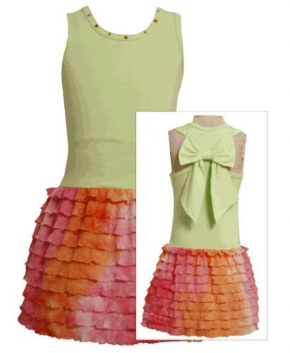 Size-6X, Green, BNJ-1997S, Geen and Pink-Orange Bow Back Ombre Eyelash Ruffle...